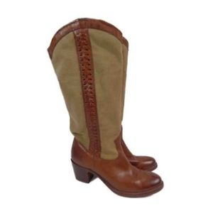 Frye Jane Braided Leather and Canvas Boots 8.5